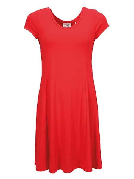 isay röd jerseyklänning kalla