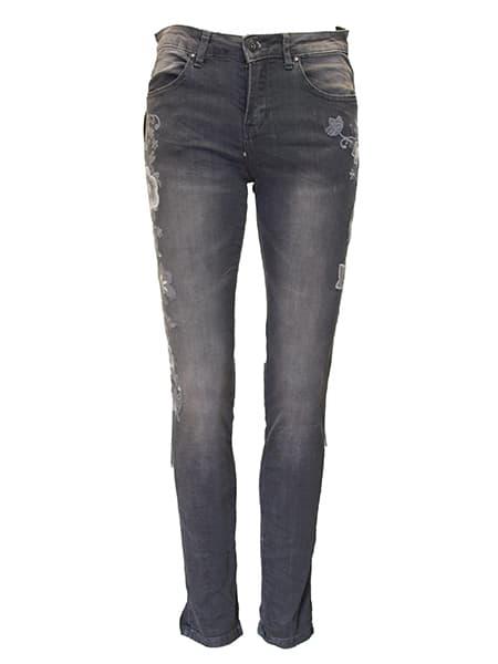 place du jour jeans med brodyr grey