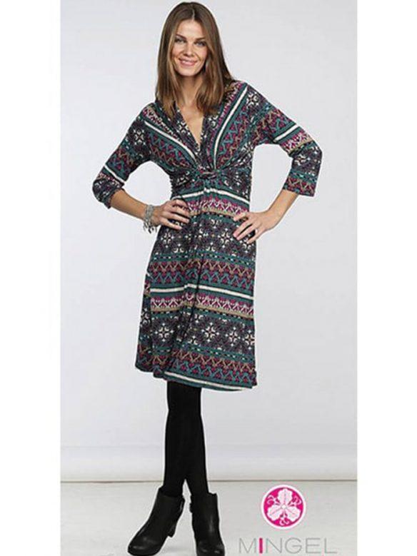 mingel mönstrad draperad klänning