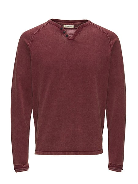 jack and jones aron knit burgundy