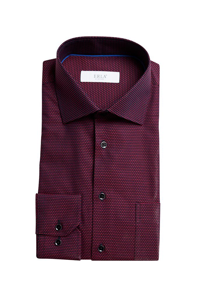 erla mönstrad skjorta vinröd
