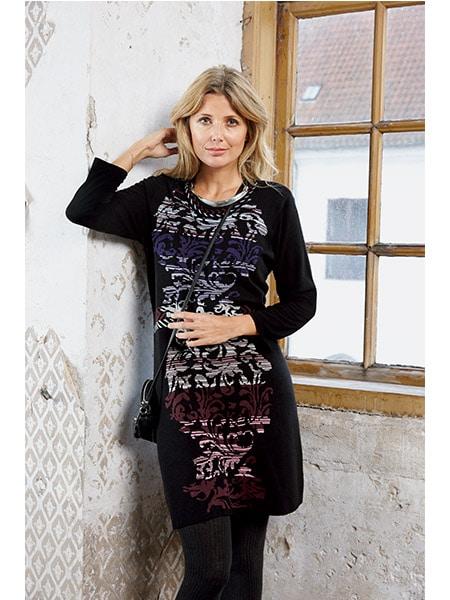 signature klänning stickad mönstrad