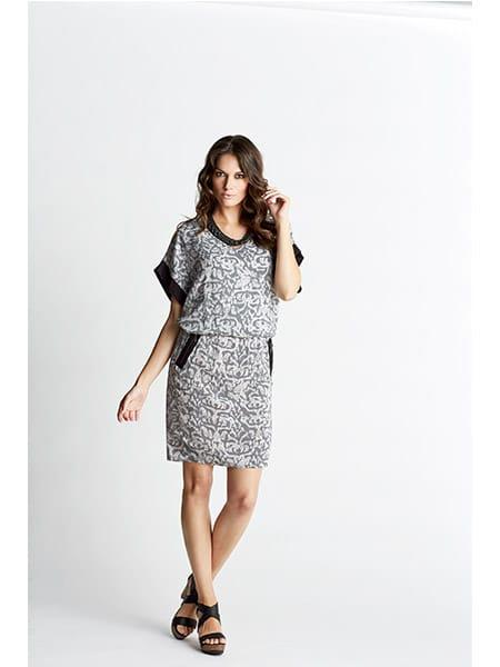 imitz kortärmad klänning grå