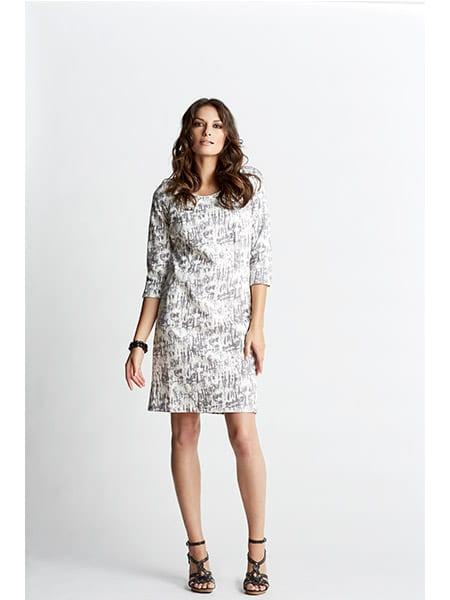 imitz klänning grå mönstrad
