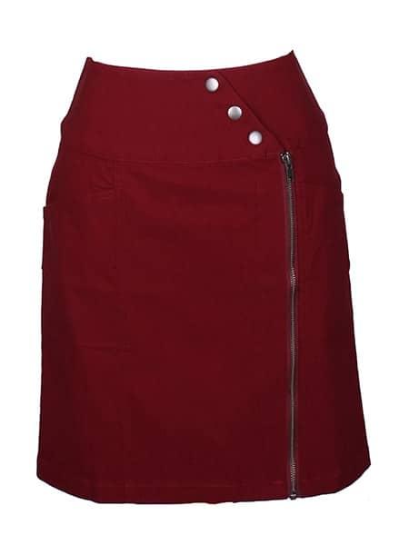 mingel stretchig kjol vinröd