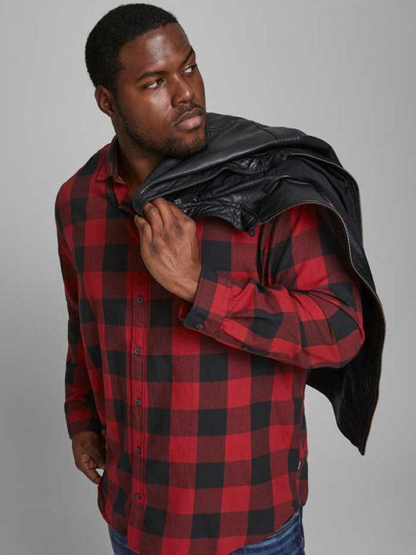 Rutig Röd Skjorta-Plus Size