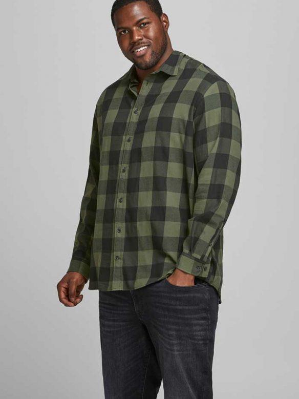 Rutig Grön Skjorta-Plus Size