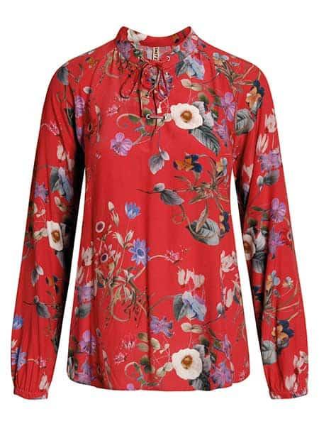 imitz skjorta röd blommig