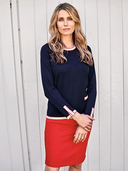 signature stickad pullover marin
