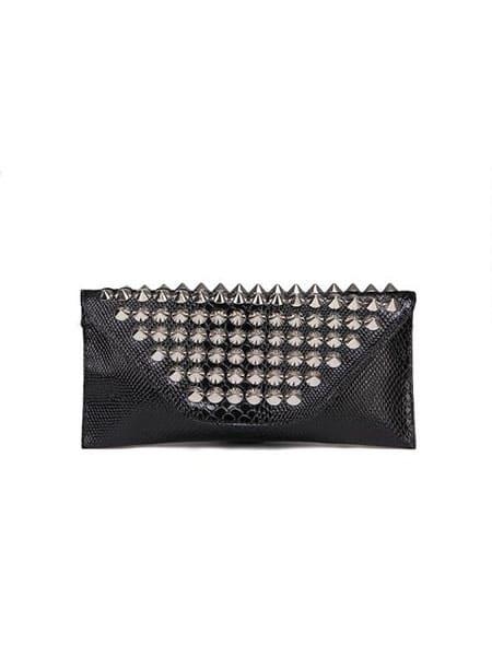charmant handväska nitar svart