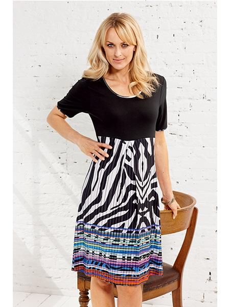signature kortärmad klänning mönstrad