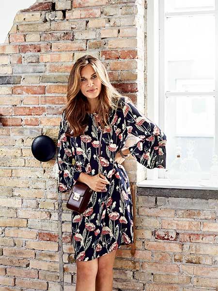 imitz viskos blommig klänning