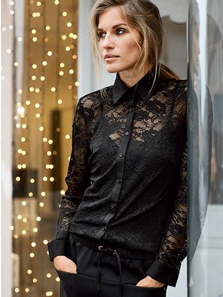imitz spets skjorta black